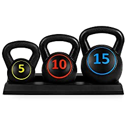 3-Piece Kettlebell Set with Storage Rack: Sports