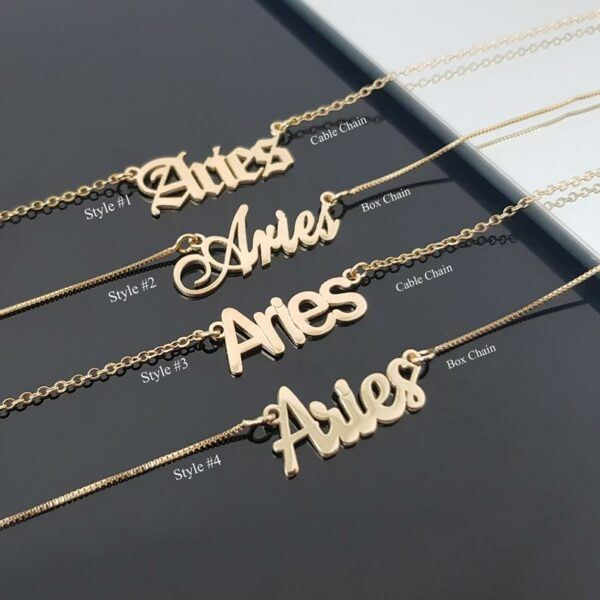 Aries Necklace With 4 Font Styles