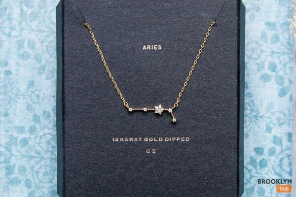 Aries Sign Constellation Necklace with Crystals