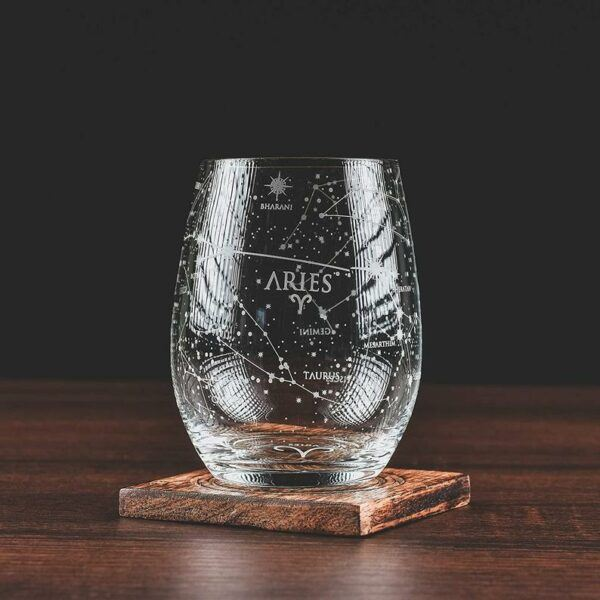 Aries Stemless Etched Wine Glass