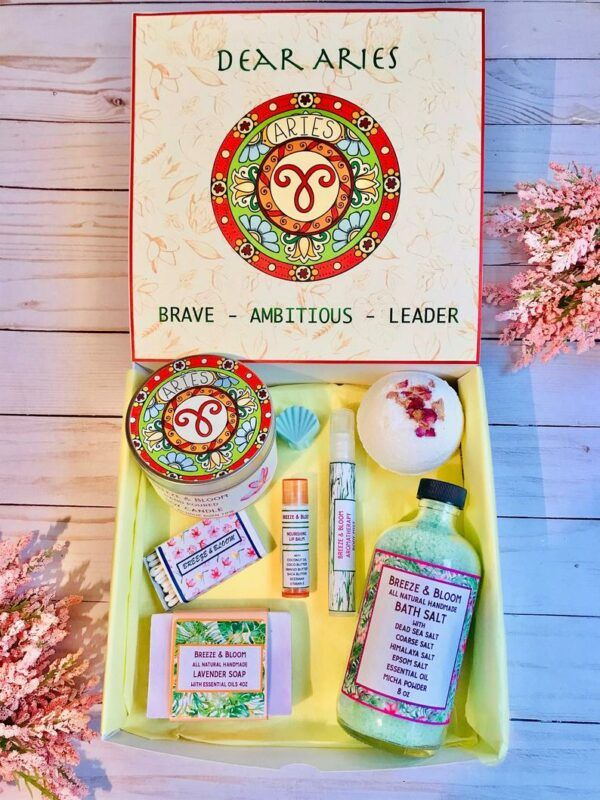 Aries Zodiac Gifts Spa Gift Basket