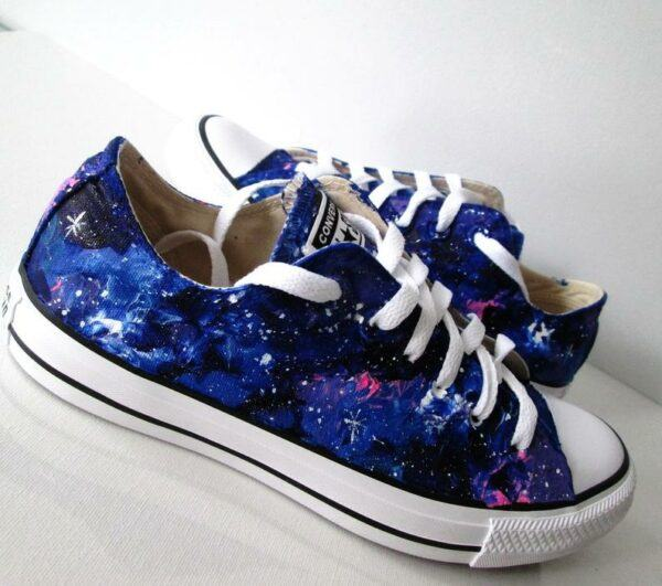 Custom hand painted galaxy low top shoes