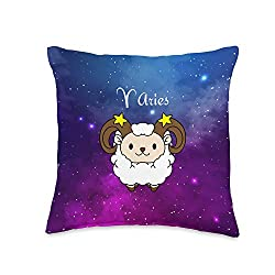 Cute Aries Zodiac Astrology Throw Pillow, 16x16