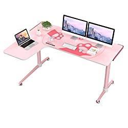 L-Shape Pink Gaming Computer Desk