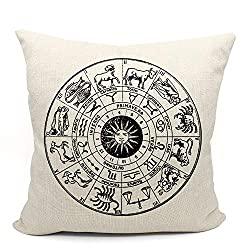 Mancheng-zi Zodiac Constellation Astrology Circle Throw Pillow Case