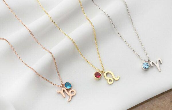 Zodiac Birthstone Necklaces