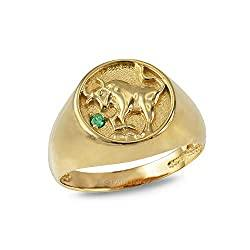 10K Yellow Gold Genuine Emerald Taurus Zodiac Ring