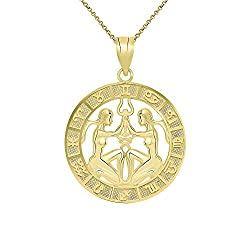 Gemini Gifts: 14k Yellow Gold Gemini Zodiac Pendant Necklace