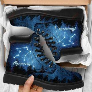 Aquarius Zodiac high neck leather shoes