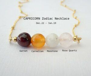 Beaded bar Capricorn Gemstone Necklace