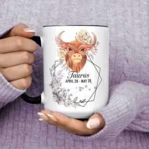 Beautiful Watercolor Bull Taurus Horoscope Ceramic Cup