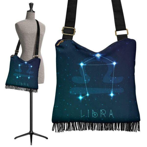 Blue Libra Zodiac Astrology Boho Bag