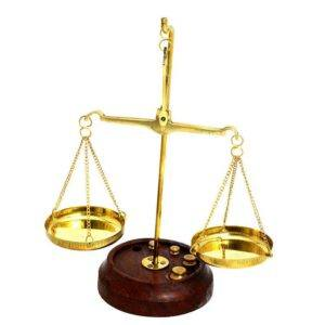 Brass Copper Authentic Libra Scale With 7 Brass Weights