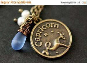 Capricorn Astrology Necklace. Zodiac Necklace with Glass Teardrop and Fresh Water Pearl