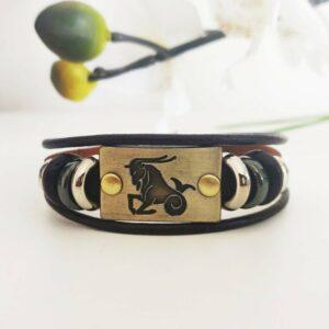 Capricorn Horoscope Leather Wristband |