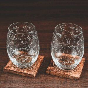 Capricorn Stemless Wine Glasses