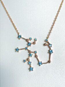 Celestial birthstone necklace. Sagittarius Constellation.