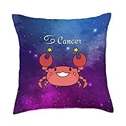 Cancer Gifts: Cute Cancer Zodiac Throw Pillow