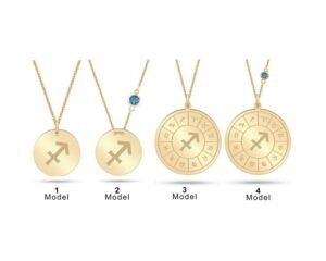 Double Sided 14k Solid Gold Sagittarius Zodiac Necklace