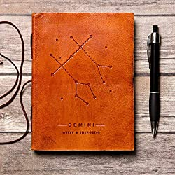 Gemini Handmade Zodiac Leather Journal with Unlined Paper
