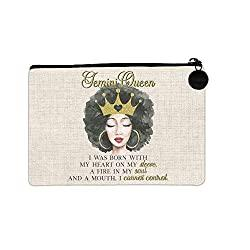Gold Crown Black Queen Gemini Small Linen Bag with Zipper