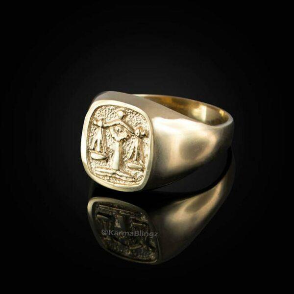 Gold Libra Mens Zodiac Ring