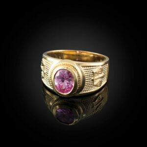 Gold Libra October Birthstone Pink CZ Ring