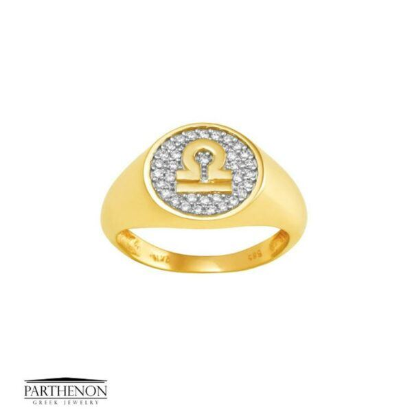 Gold Zodiac sign Libra Chevalier Ring