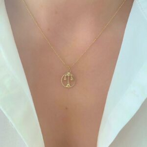 Libra Scales Gold Necklace