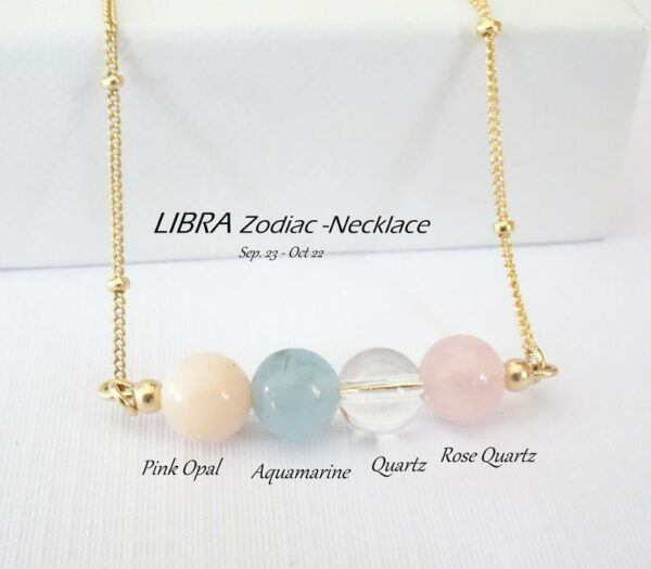 Libra Zodiac Natural Crystal Necklace