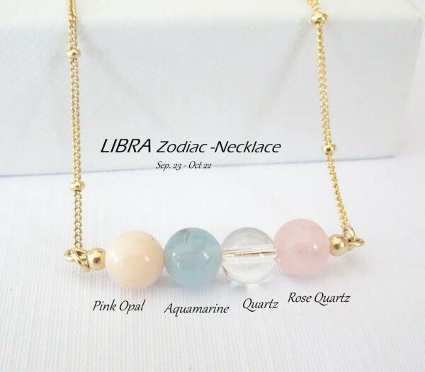 Libra Zodiac Natural Crystal Necklace