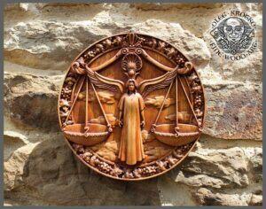 Libra Zodiac Symbol Wood Plaque
