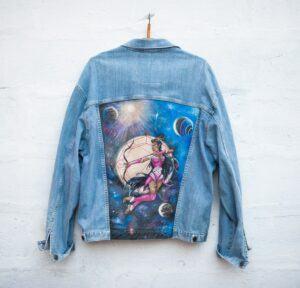 SAGITTARIUS Hand Painted Blue Jeans Jacket