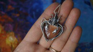 Silver Scorpio Necklace with raw Imperial Topaz