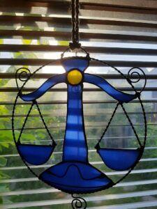 Stained Glass Suncatcher Zodiac star sign Libra