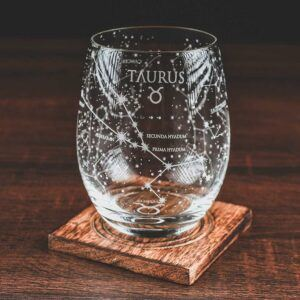 Taurus Etched Stemless Wine Glass