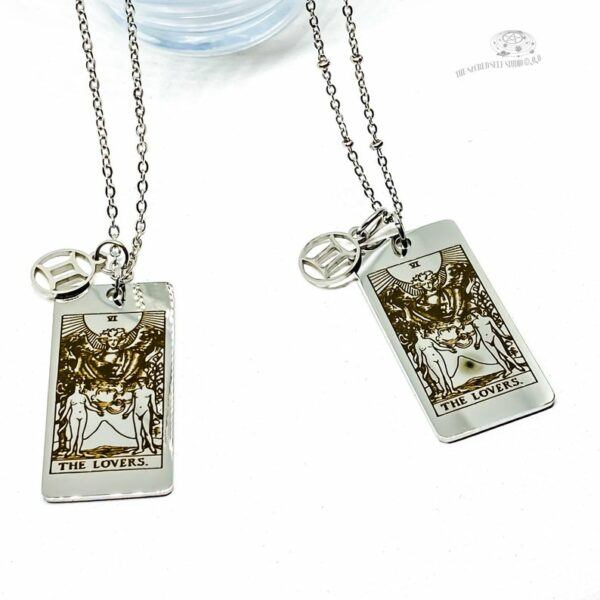 The Lovers Tarot Card and Gemini Symbol Necklace