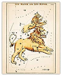 Vintage Leo Zodiac Sign Wall Art Prin