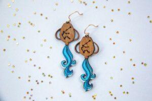 Water Bearer Laser Cut Wood Painted Earrings