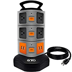 Power Strip Tower 10 Outlet Plugs with 4 USB Slots