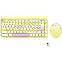 84 Keys Yellow Colorful Wireless Computer Keyboard and Mouse Combo