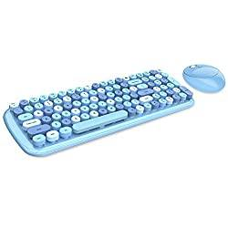 Blue Colorful Compact Wireless Keyboard and Mouse Combo