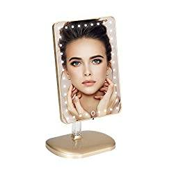 Impressions Touch Pro Makeup Mirror with Bluetooth Speaker and 360 Rotation, Touch Sensor Vanity Mirror with LED Lights and USB Charging Port (Champagne Gold)